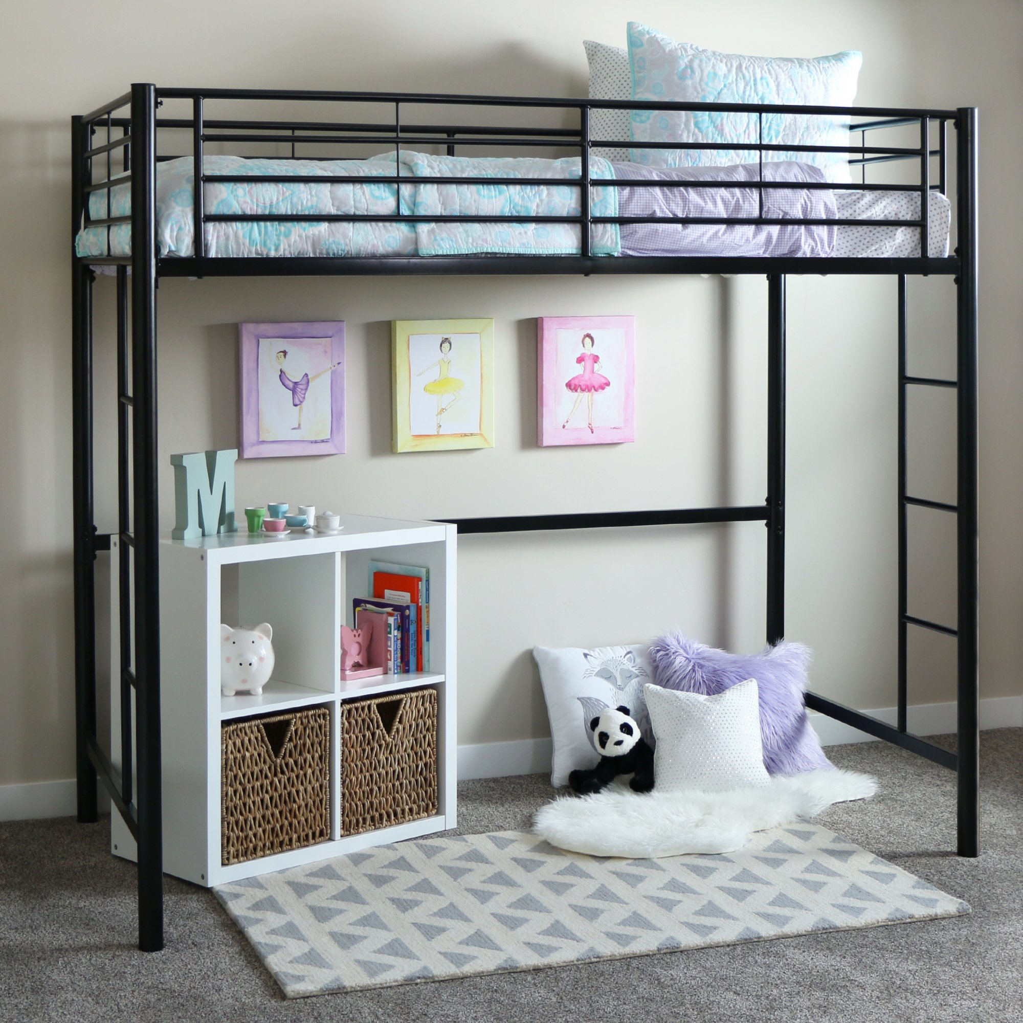 Walker Edison BTOLBL Twin Metal Loft Bed, 71'' x 42'' x 79'', Black