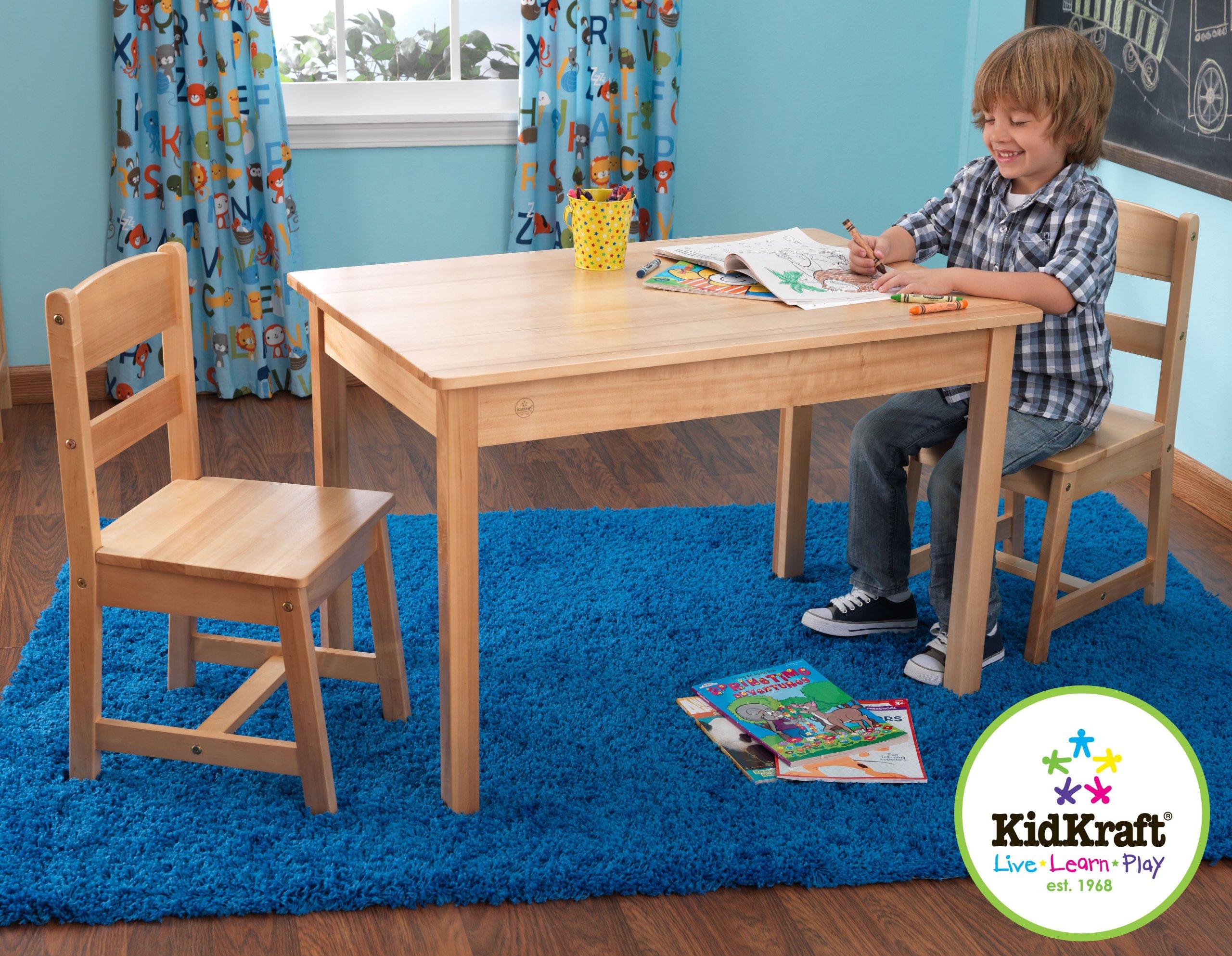 KidKraft Wooden Rectangular Table & 2 Chair Set For Kids - Natural by KidKraft