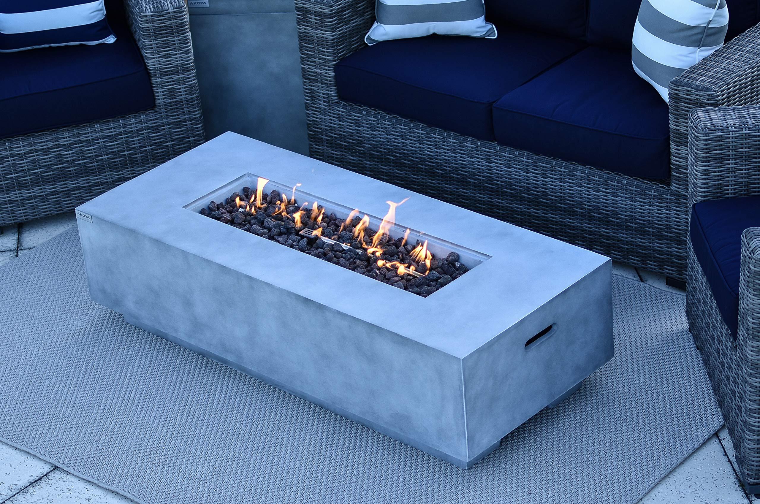 AKOYA Outdoor Essentials 56'' Fiber Concrete Rectangular Outdoor Propane Gas Fire Pit Table in Gray by AKOYA Outdoor Essentials