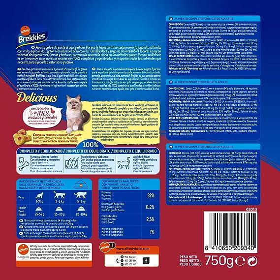 Brekkies - Brekkies Delicious - Comida para gatos - 750 g: Amazon ...