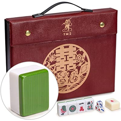 Yellow Mountain Imports Professional Chinese Mahjong Game Set - Double Happiness (Green) - with 146 Medium Size Tiles, 3 Dice and a Wind Indicator - for Chinese Style Game Play: Toys & Games