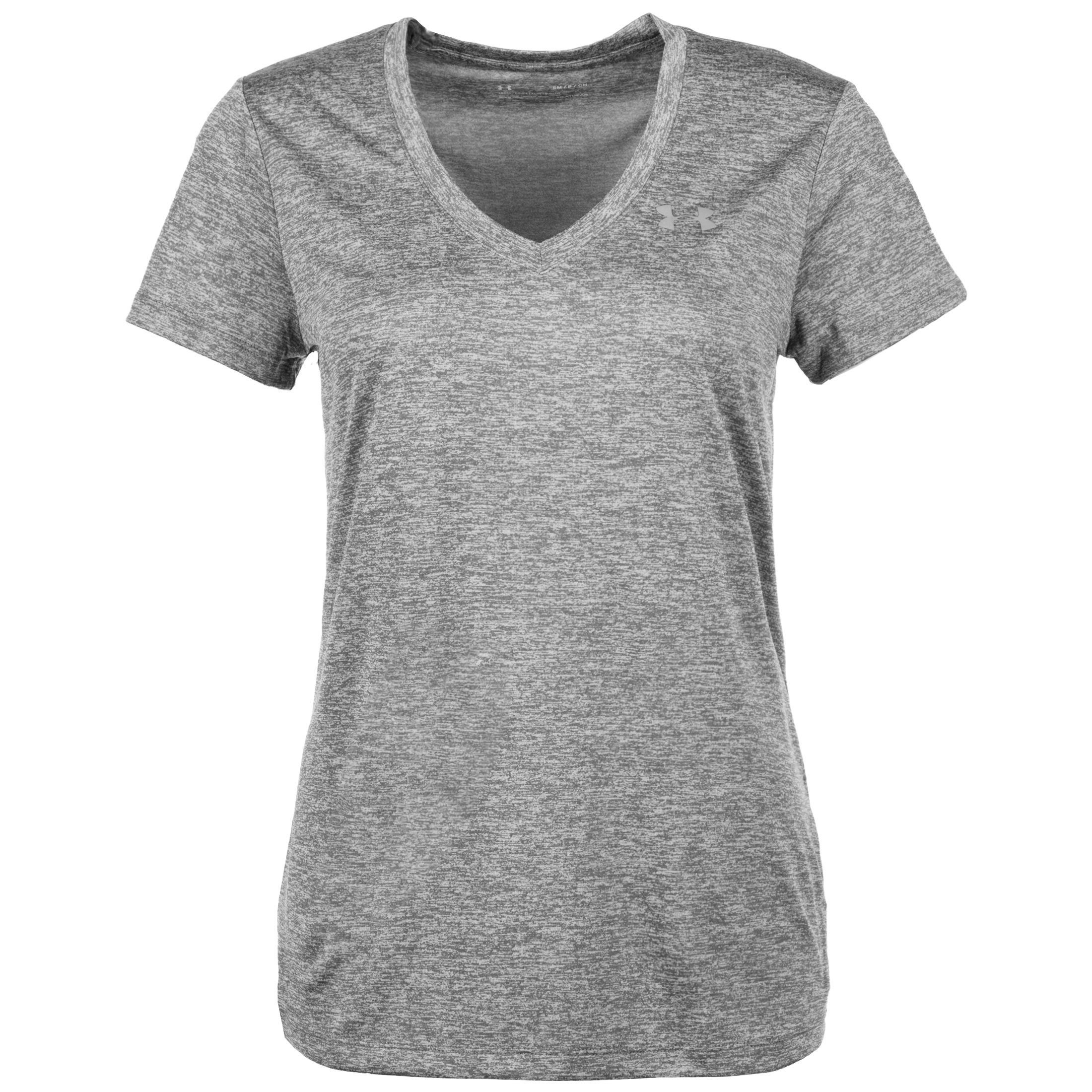 Under Armour Women's Tech Twist V-Neck, Graphite (040)/Metallic Silver, X-Small