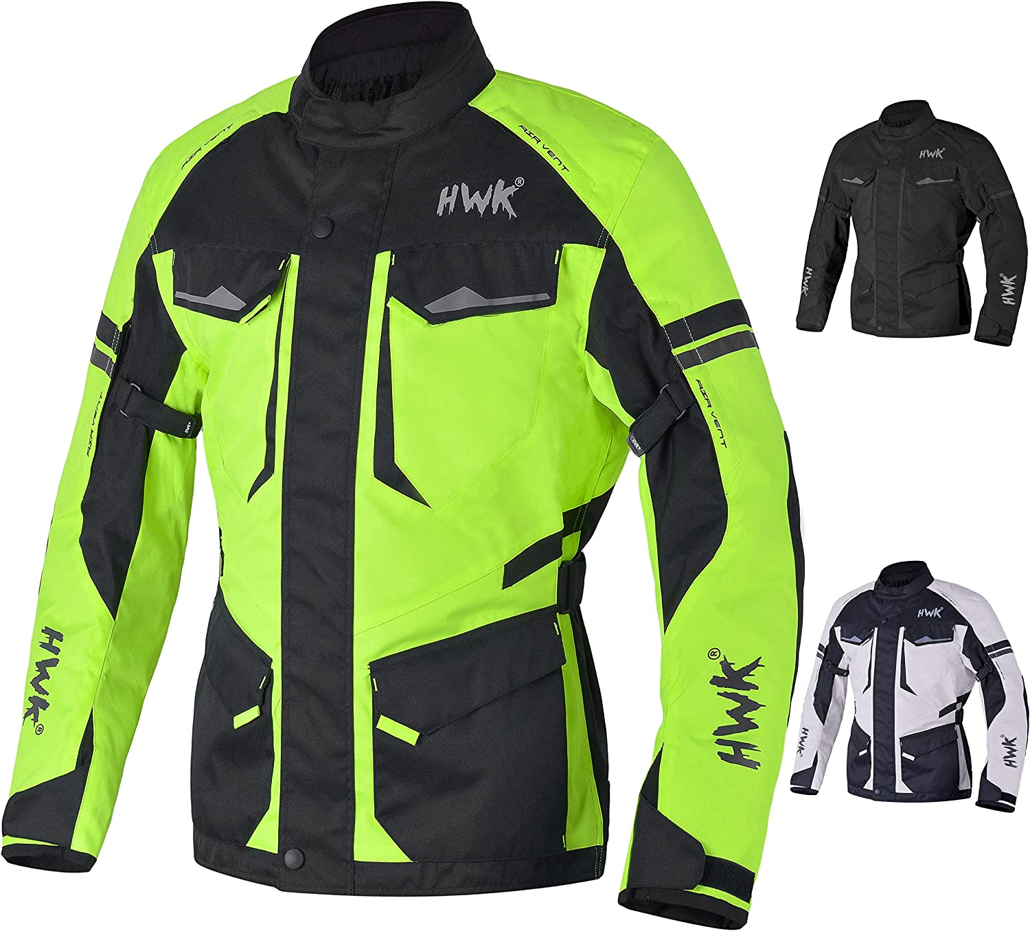 Adventure/Touring Motorcycle Jacket For Men Textile Motorbike CE Armored Waterproof Jackets ADV 4-Season (Hi-Vis Green, S)