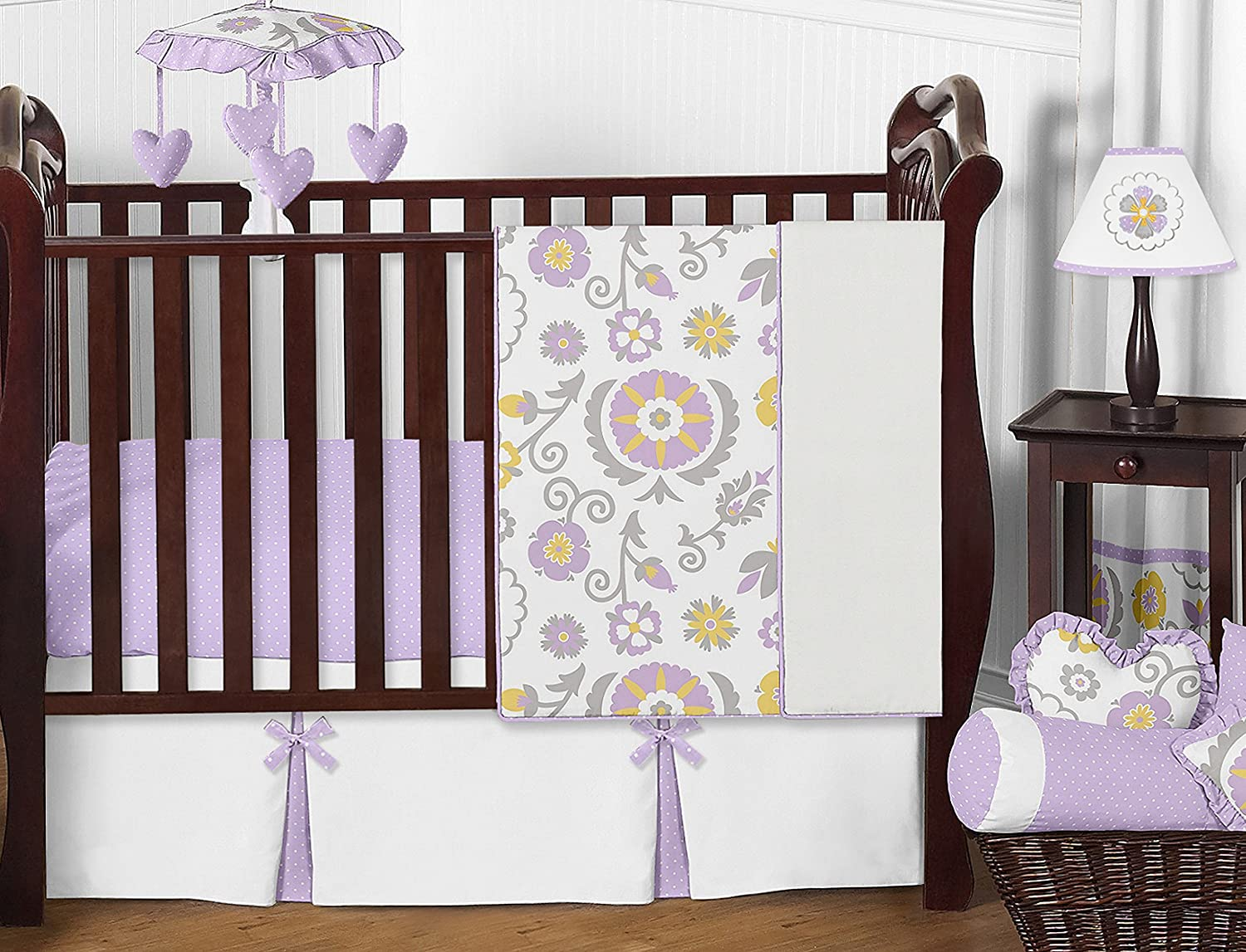 Sweet Jojo Designs Lavender And White Floral Crib Bed Skirt Dust Ruffle For Girls Suzanna Collection Baby Bedding Sets Nursery Ilsr Org