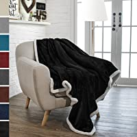 PAVILIA Premium Sherpa Throw Blanket for Couch Sofa | Soft, Cozy, Plush Microfiber Throw | Reversible Flannel Fleece Solid Blanket, All Season Use (50 x 60 inches)