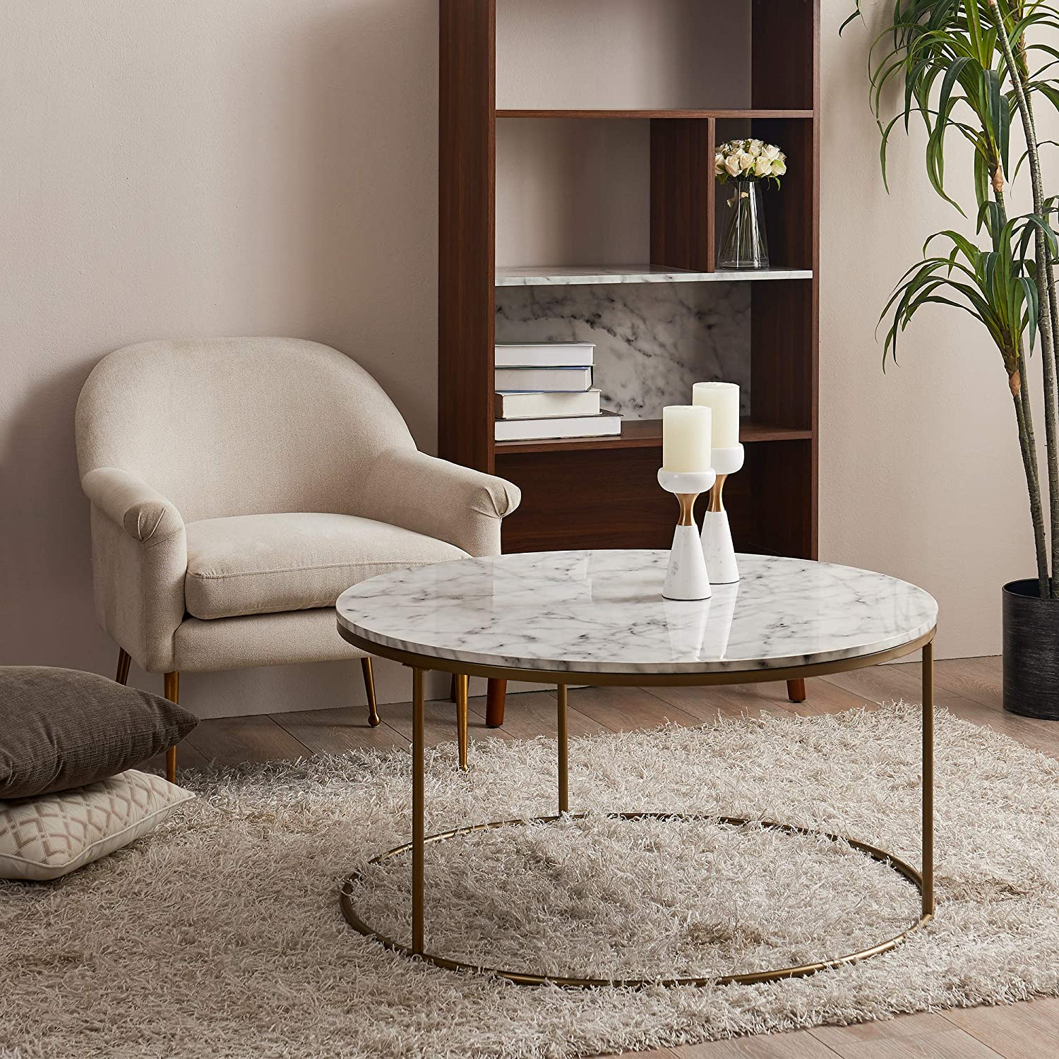 Marmo Ronde Table Basse Versanora Faux marbre//Laiton VNF-00075