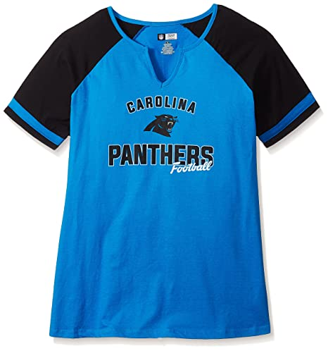 Amazon.com   NFL Womens Panthers S S Notch V Neck TEE   Sports ... 7b05d9bfd