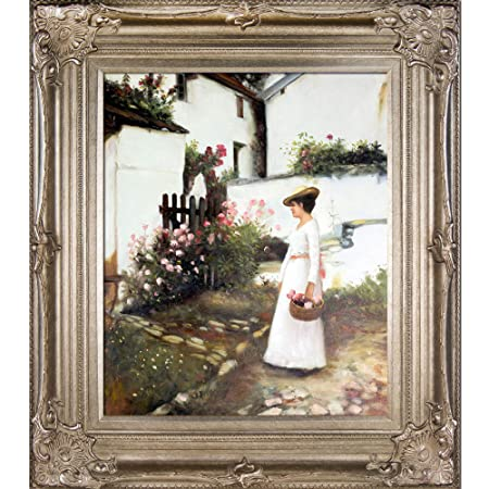 overstockArt WA3151-FR-446G20X24 Gathering Summer Flowers in a Devonshire Garden by John William Waterhouse Framed Hand Painted Oil on Canvas, Not Applicable