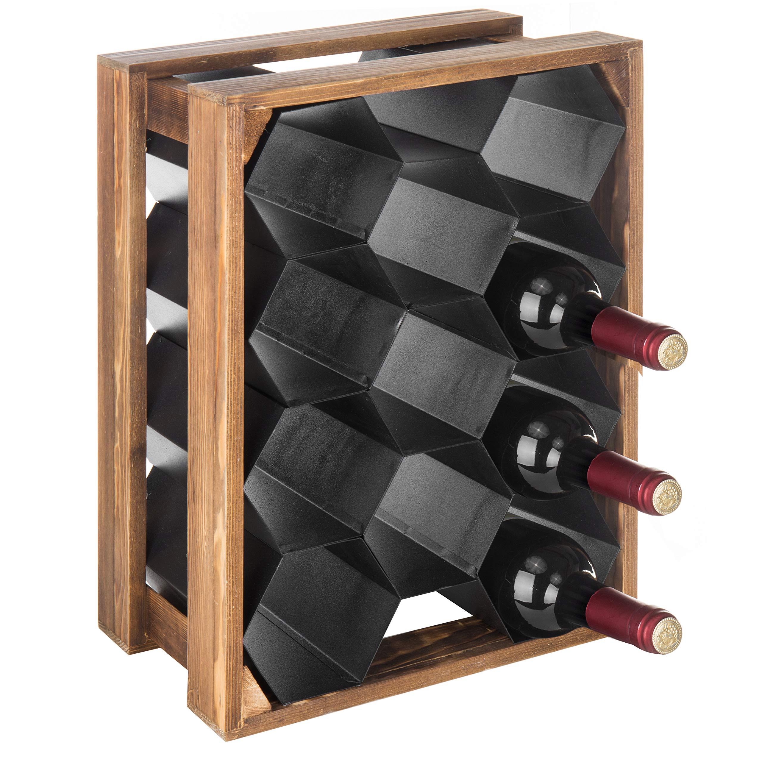 MyGift 11-Bottle Wood & Metal Countertop Honeycomb Design Wine Rack by MyGift