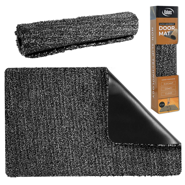 Kaluns Door Mat - Front Door Welcome Rug Indoor Doormat - Super Absorbant Mud Mats - 28x18 Home Entry Floor Mat, Non Slip PVC Waterproof Backing, Shoe Mat for Entryway - Machine Washable (Black/Gray)