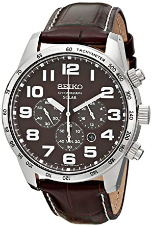 244ab25adf4 Image Unavailable. Image not available for. Color  Seiko Men s SSC227 Stainless  Steel Solar Watch with Brown Leather Band