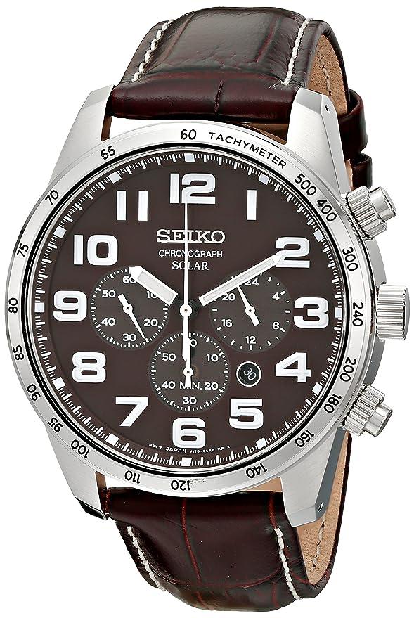 amazon com seiko men s ssc227 stainless steel solar watch amazon com seiko men s ssc227 stainless steel solar watch brown leather band seiko watches
