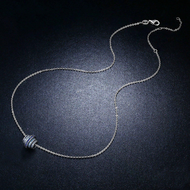 CS-DB Pendants Gradual Change Round Wheel Blue Silver Necklaces