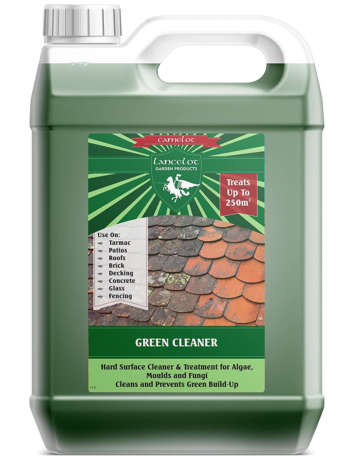 Lancelot Green Cleaner for Drives, Roofs, Walls Decking and Patios 5L - Cleans and Kills Algae, Black Mould and Lichen. Removes Moss. Mistral Chemicals R1737C1