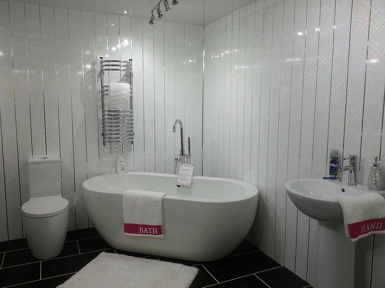 10 White Sparkle Chrome Strip Diamond Effect PVC Bathroom Cladding Shower Wall Panels
