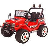 Rebo 12v Wrangler Ride On Electric Jeep Battery Remote Car / 2 Seater / MP3 / Remote Control / 3 Colours (Red)