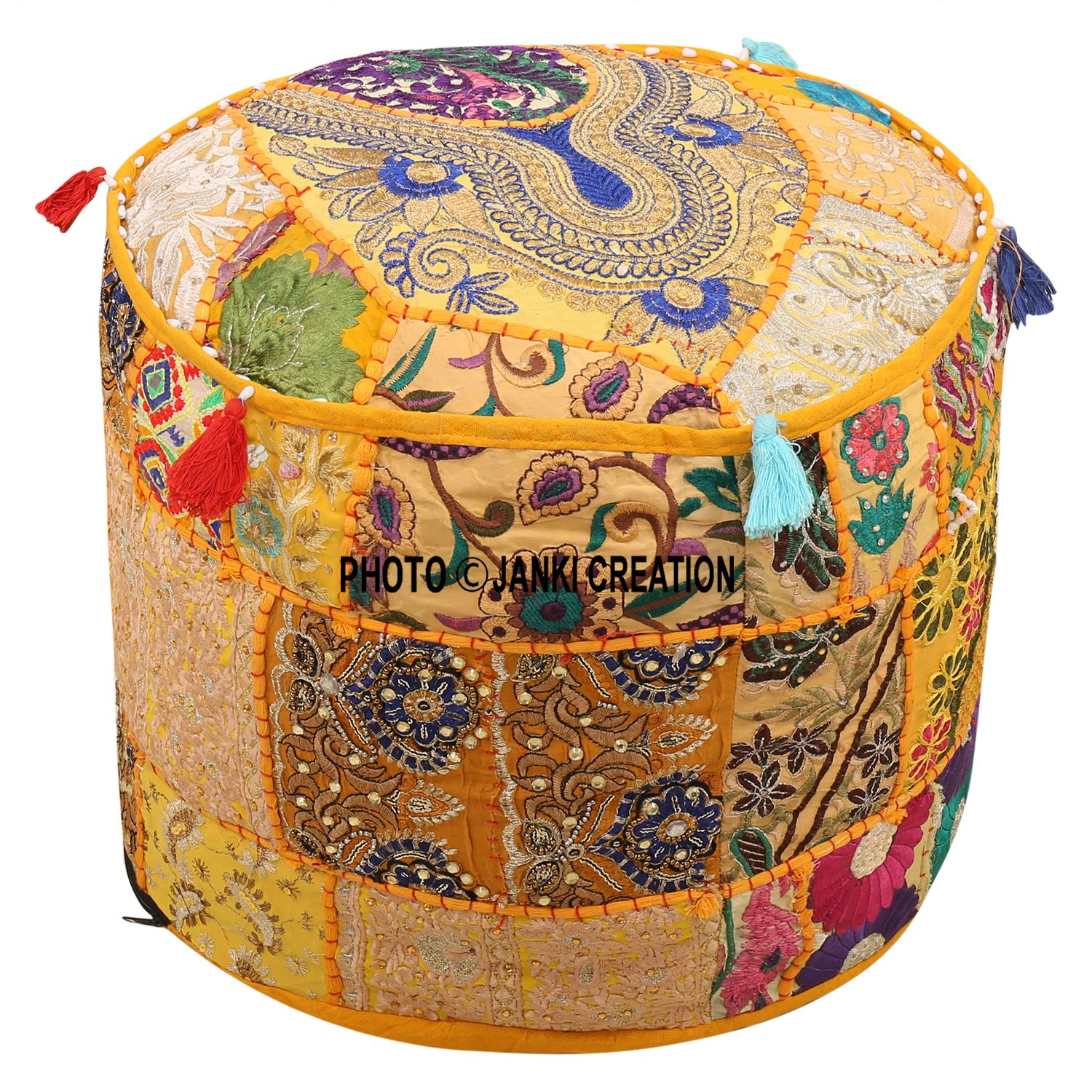 Indian Pouffe Footstool Cover Round Patchwork Embroidered Pouf Ottoman Cover Yellow Cotton Floral Traditional (18x18x13) Embroidered Ottoman Stool Pouf Cover Turquoise Green Floral Hassock Pouffe Case Janki Creation