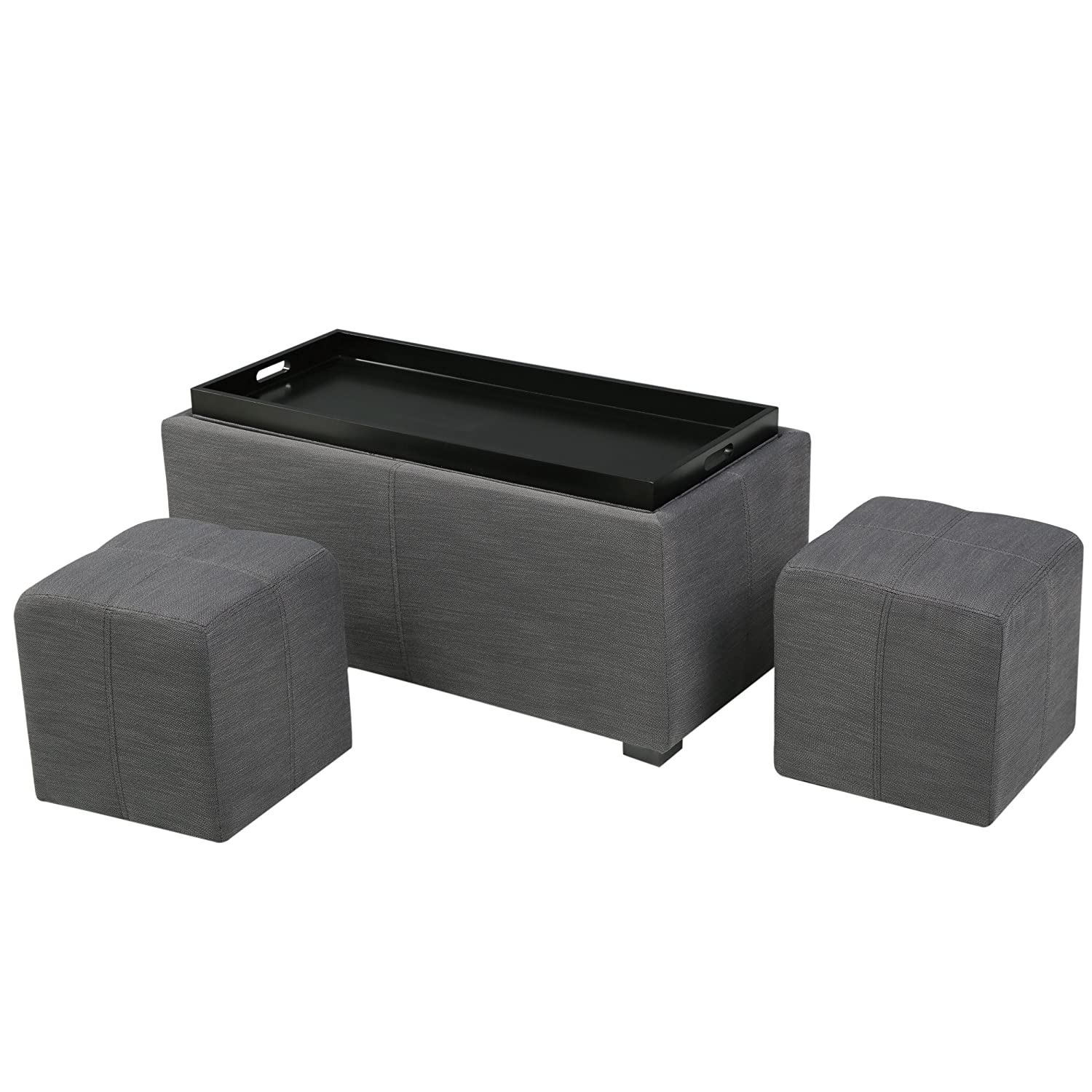 Awesome Christopher Knight Home Living August Grey 3 Piece Fabric Tray Top Nested Storage Ottoman Bench Gray Alphanode Cool Chair Designs And Ideas Alphanodeonline