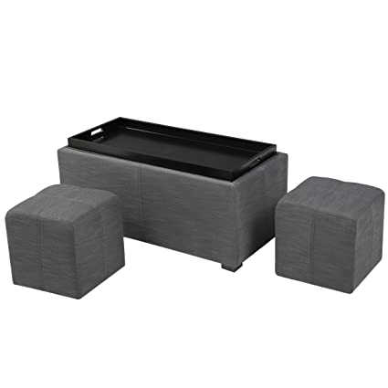 Christopher Knight Home 296827 Living August Grey 3 Piece Fabric Tray Top  Nested Storage Ottoman