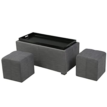 Strange Christopher Knight Home Living August Grey 3 Piece Fabric Tray Top Nested Storage Ottoman Bench Gray Alphanode Cool Chair Designs And Ideas Alphanodeonline