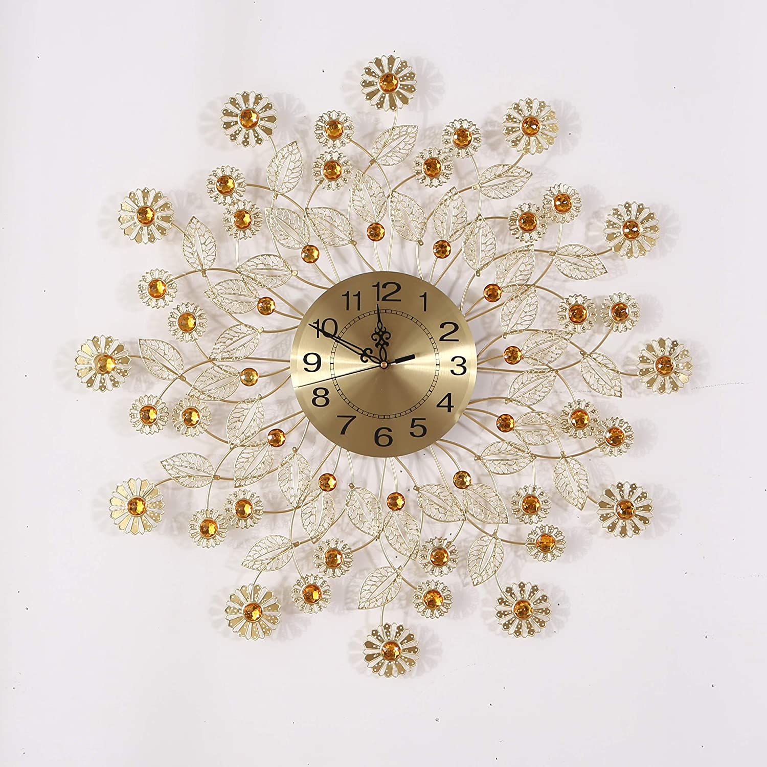 """KINBEDY 28"""" Luxury Crystal Bohemian Peacock Style Metal Rustic Wall Clock with Silent Movement 10"""" Metal Dial Large Sunburst Big Fancy Decorative Clock for Living Room, Bedroom, Office Space."""