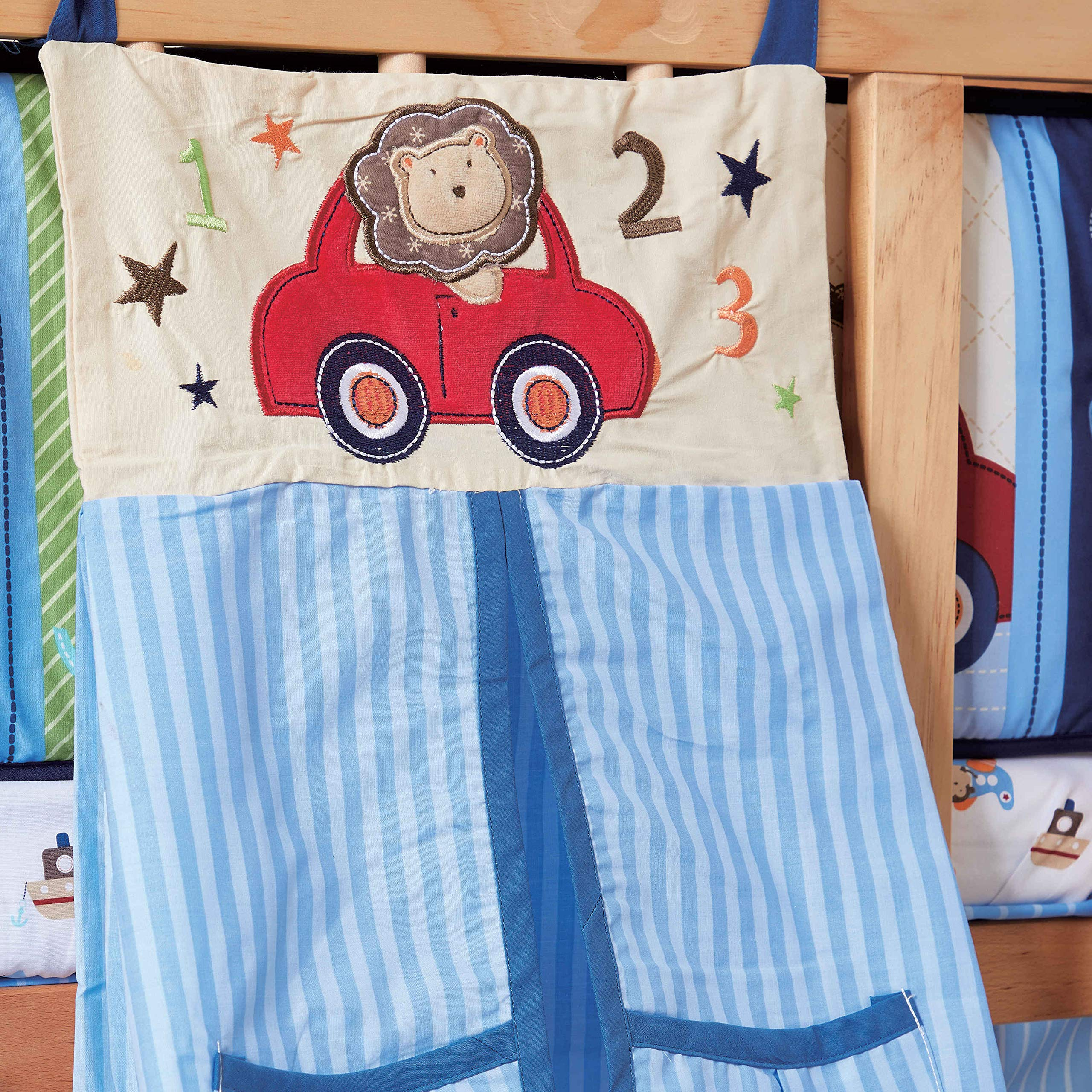 Wowelife Baby Crib Bedding Set 9 Piece Blue Travel Car and Airplane Crib Sets for Boys and Girls with Bumpers and Diaper Stacker(Little Pilot-9 Piece)