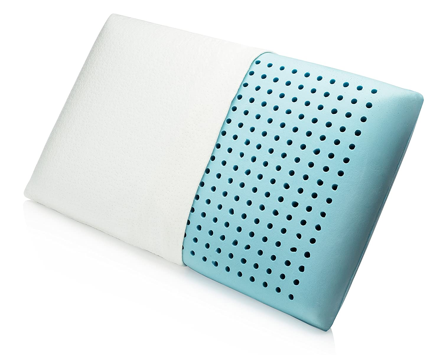 Cool Gel Memory Foam Pillow by MemorySoft with Air Flow Ventilation and Premium Bamboo Cover - All Position Sleeper