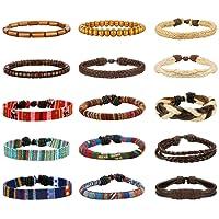 LOYALLOOK 15pcs Men Women Linen Hemp Cords Wood Beads Ethnic Tribal Bracelets Leather Wristbands
