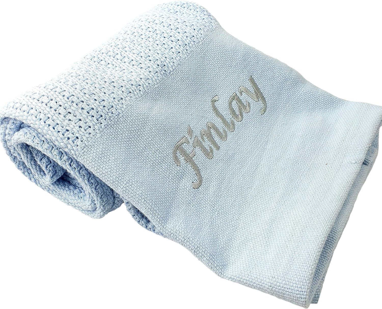 Hoolaroo Personalised Cellular Blanket Newborn Blankets Embroidered with Name Hospital Personalised Blanket
