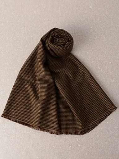 Houndstooth Merino Scarf 3136-343-0369: Brown