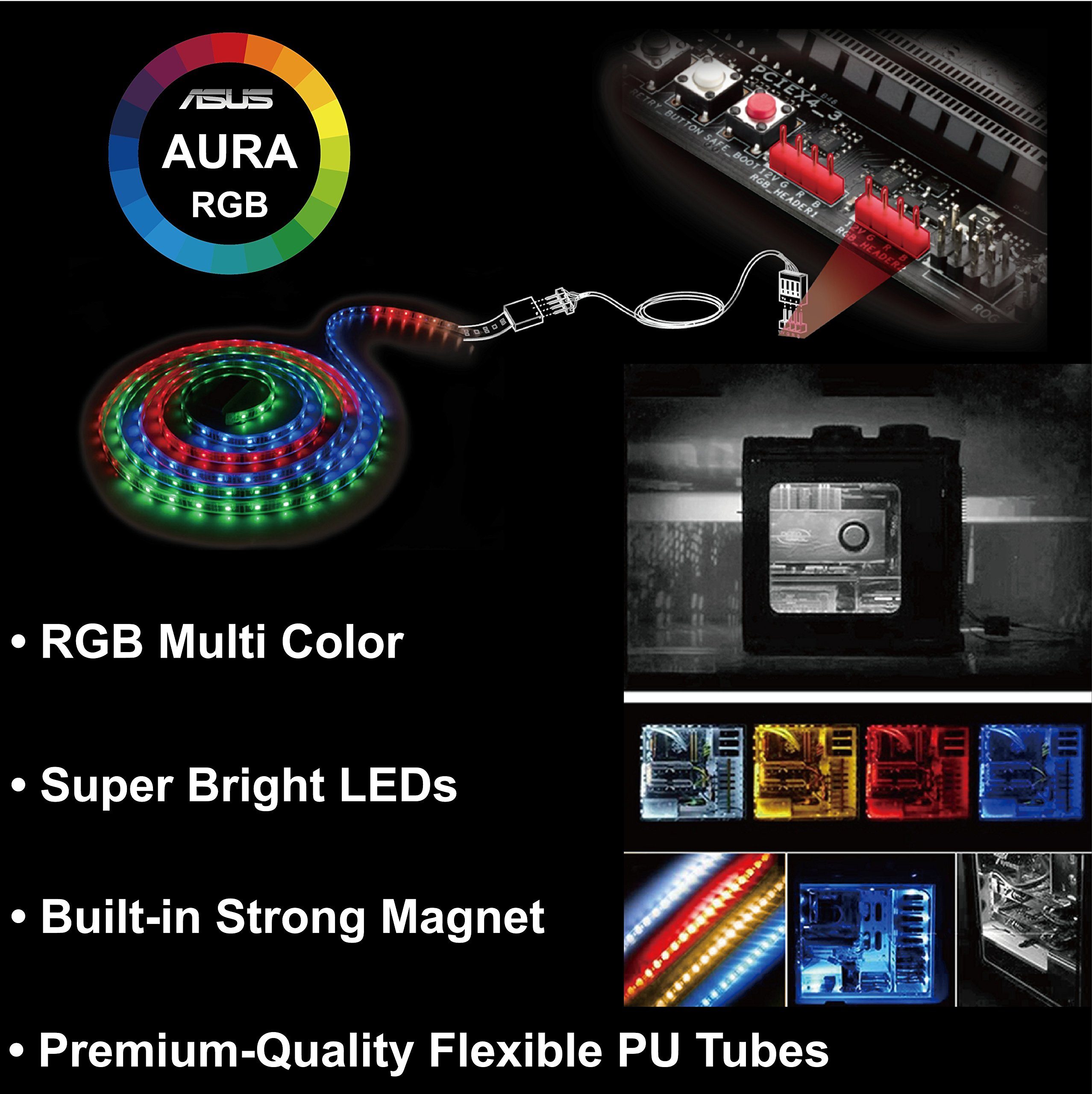 Extended Computer Magnetic LED Strip - 2pcs Magnetic RGB LED Strip Light for ASUS Aura RGB/MSI Mystic Light/ASROCK Aura RGB Motherboard (12V 4-Pin RGB LED headers ONLY) by airgoo (Image #4)