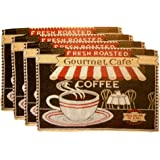 Coffee Cafe Woven Place Mats - Coffee Cup Design Set of 4 (Gourmet Cafe)
