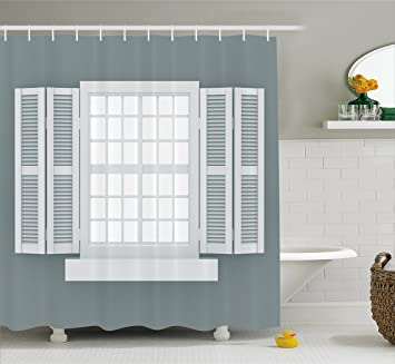 Shutter Decor Shower Curtain By Ambesonne Graphic Illustration Of Wooden Window Shutters Traditional Country Style