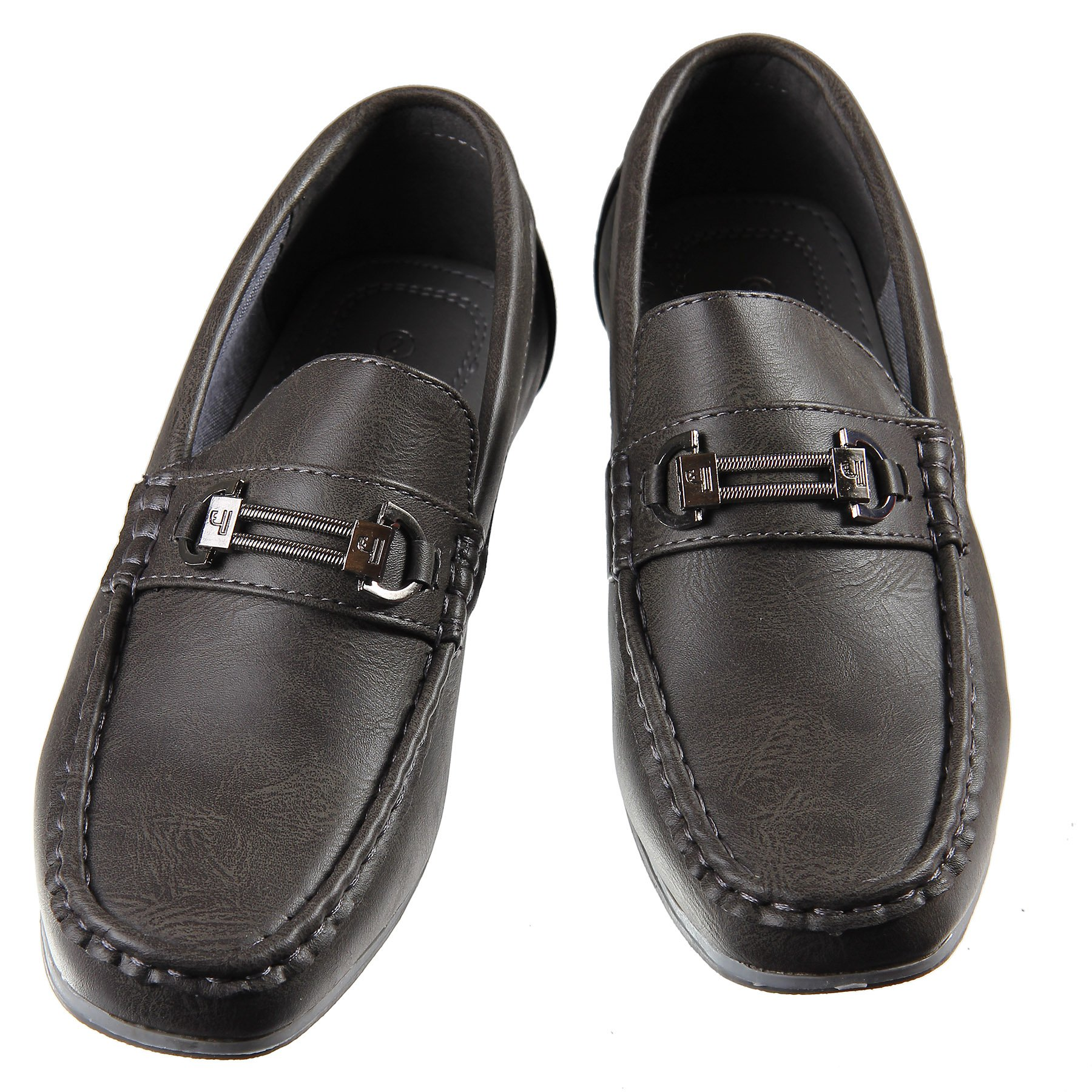 Dark Grey Loafers Slip on Dress Shoes Sized from Little Boys 10 to Big Boys 8 (Little Kid M US 3)