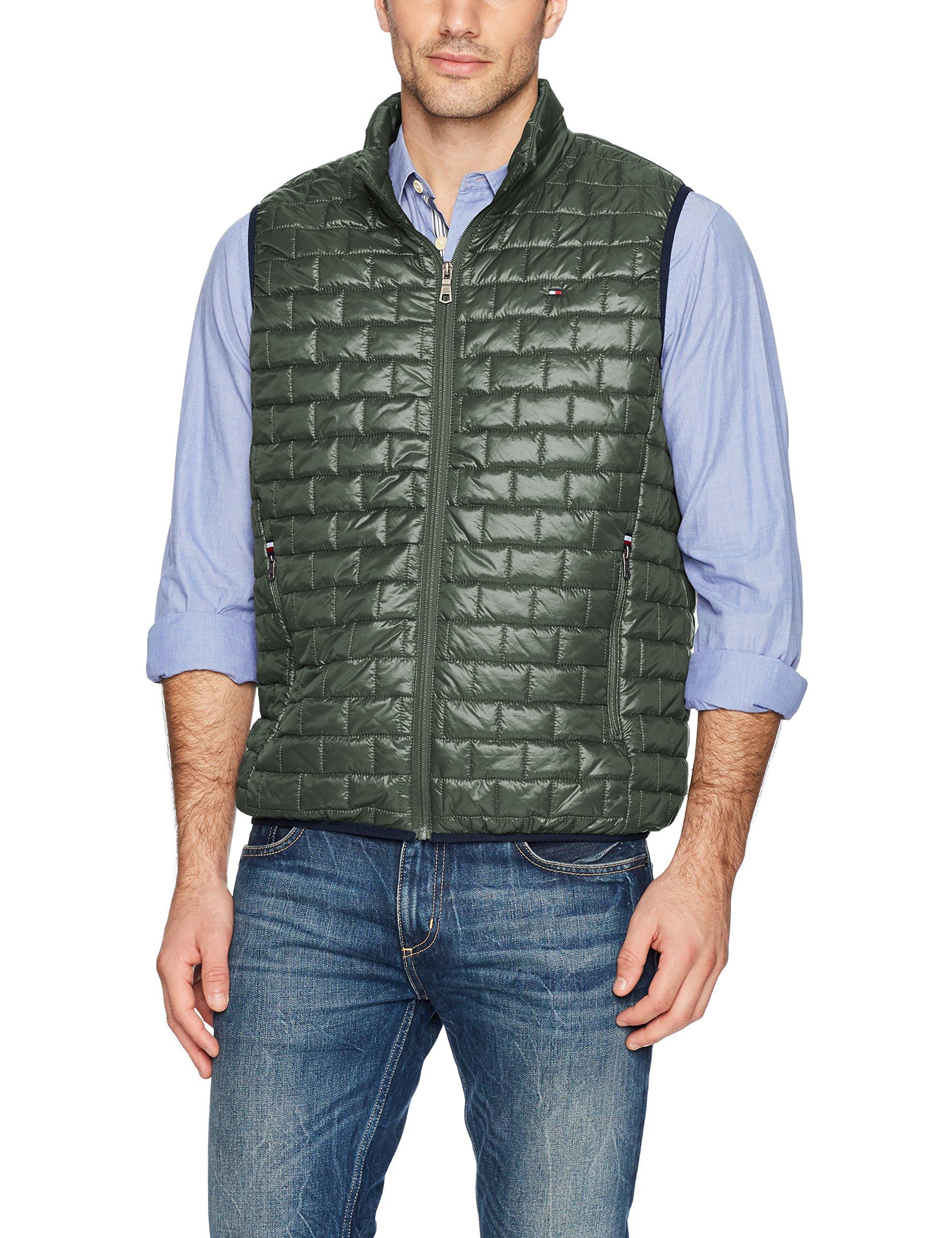 Tommy Hilfiger Men's Box Quilted Lightweight Ultra Loft Vest, green, X-Large by Tommy Hilfiger