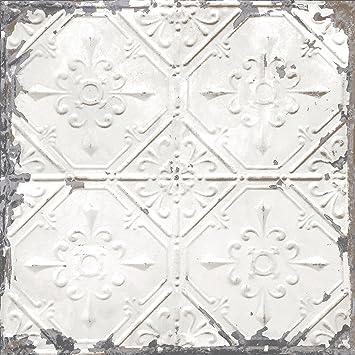 Nuwallpaper Nu2086 Vintage Tin Tile Peel And Stick Wallpaper White Amazon Co Uk Diy Tools