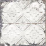 Brewster Home Fashions NuWallpaper Vintage Tin Tile Peel & Stick Wallpaper, White & Off-White