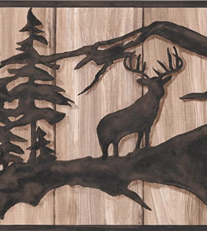 Chocolate Brown Abstract Wild Forest Deer Bear On Beige Faux Wood