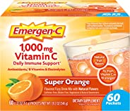 Emergen-C Vitamin C 1000mg Powder (60 Count, Super Orange Flavor, 2 Month Supply), With Antioxidants, B Vitamins And Electrol