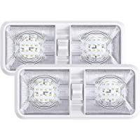 2 Pack RV LED Ceiling Double Dome Light Fixture with ON/Off Switch Interior Lighting for Car/RV/Trailer/Camper/Boat DC…