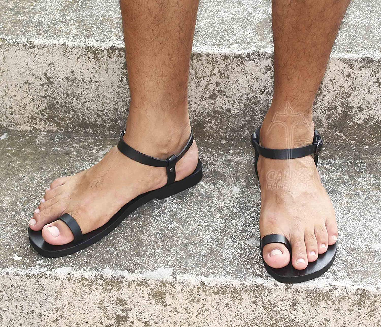 Men Sexy Leather Sandals, Toe Ring