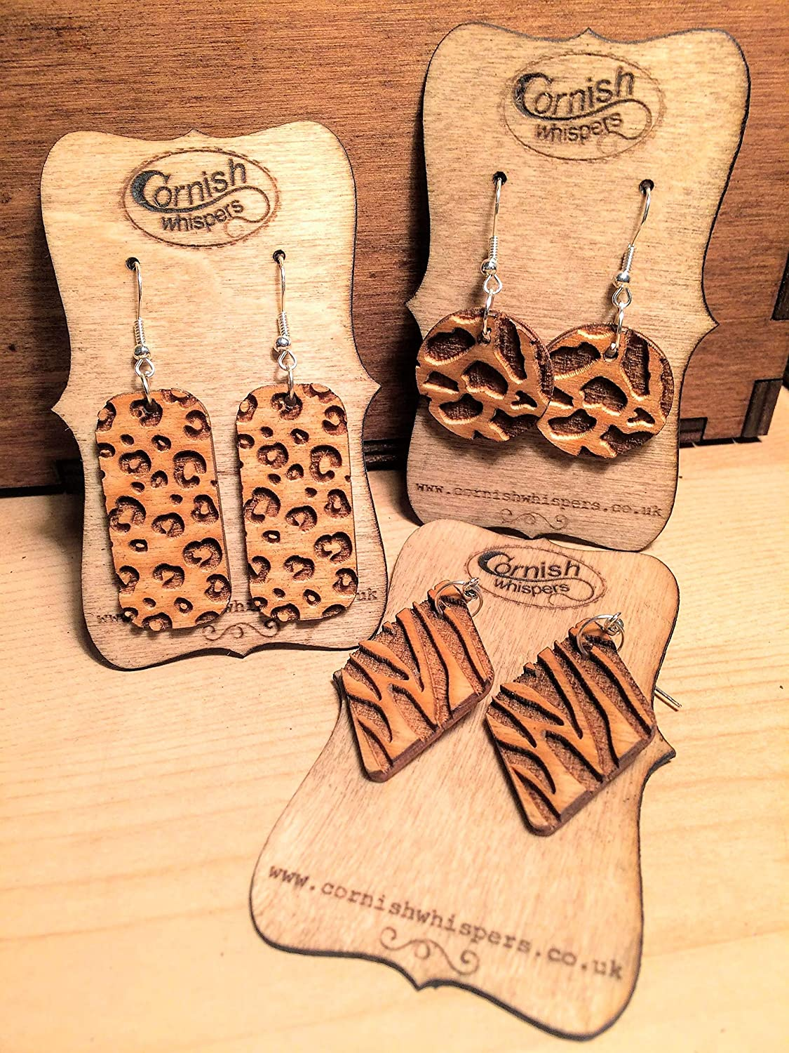 Cheetah Zebra or Giraffe Wood Dangly Earrings Animal Print Wooden Drop Earrings