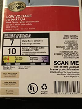 Amazon.com : Hampton Bay Low Voltage 7-Watt Black Halogen ...