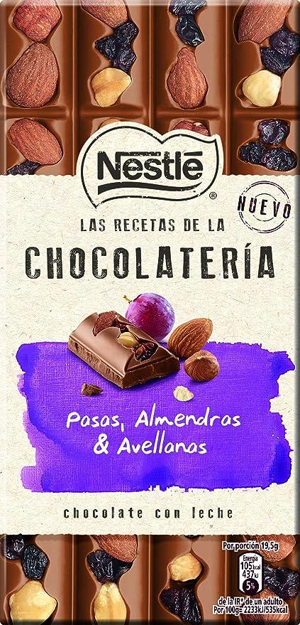 NESTLÉ Les Recettes de LAtelier Chocolate con Leche Pasas Avellanas y Almendras - Tableta
