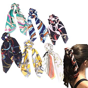 6200fc5717163 Hair Scarf Silk Scrunchies Ponytail - (6 Pack) Chain Detail Unique Hair  Ties Designs to match Different...