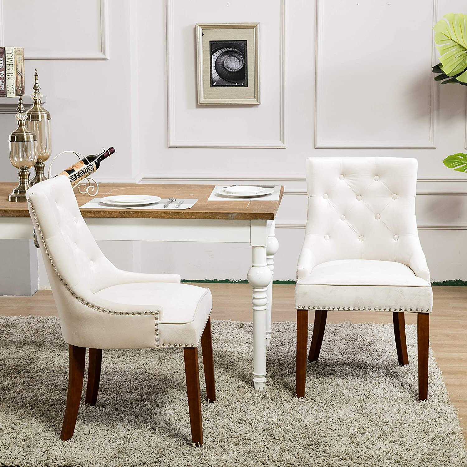 Blue Velvet Fabric Dining Chairs,Tufted Upholstered Kitchen and Dining Room Chair with Nailhead Set of 2