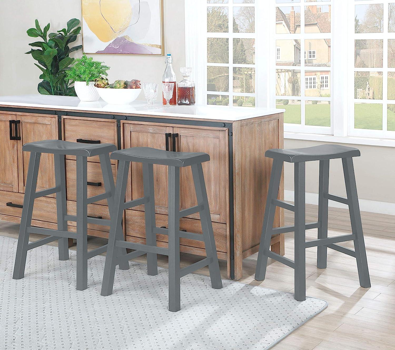 Ehemco 29 Heavy Duty Saddle Seat Bar Stool In Grey Gray Set Of 3 Kitchen Dining