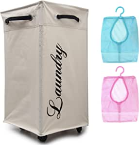 Upgraded Rolling Laundry Hamper with Wheels, Rolling Hamper, Rolling Laundry Basket with Wheels, Laundry Hamper on Wheels, Wheeled Laundry Basket, Ivory, Two Bonus Mesh Bags