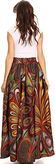 Traditional Wax Print Adjustable Strap Maxi Skirt