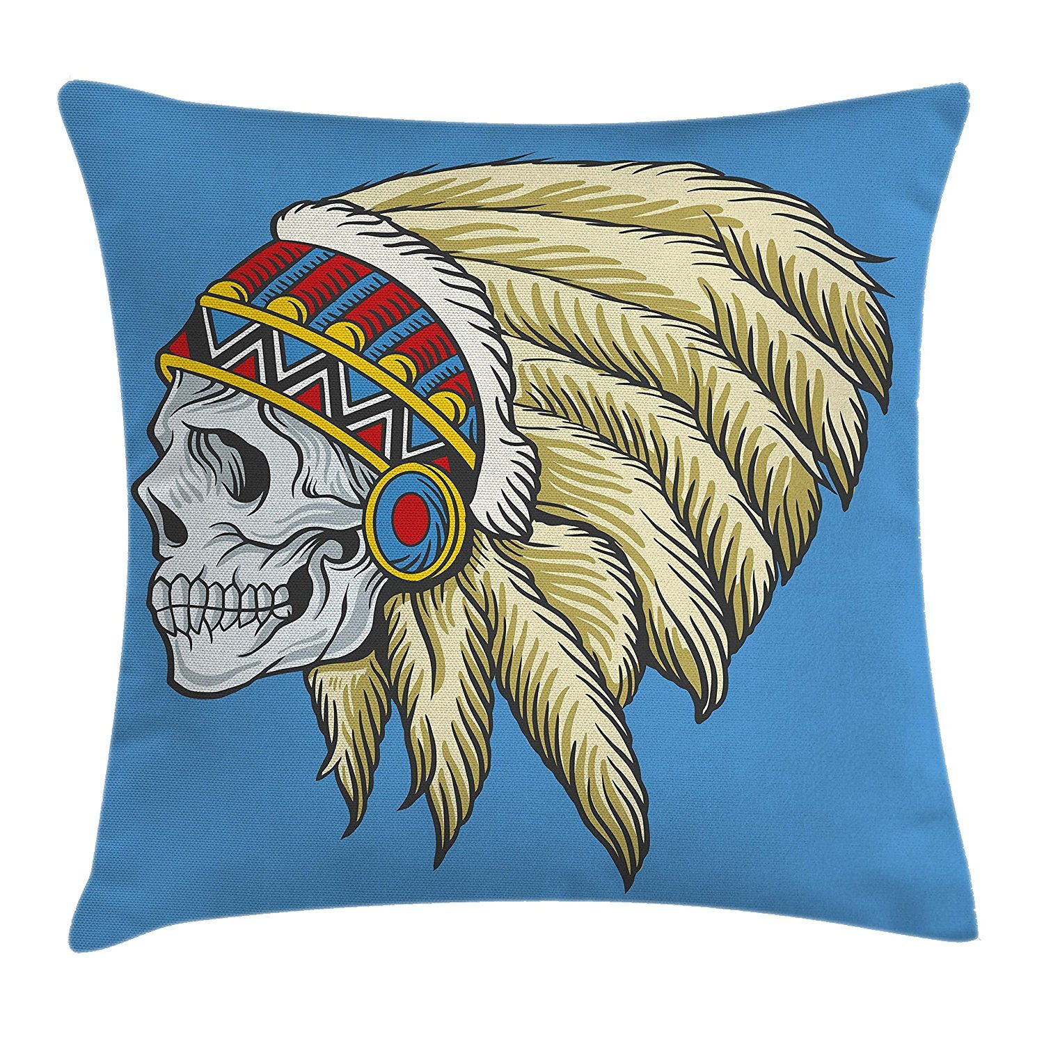 Tribal Throw Pillow Cushion Cover, Native American Dead Skull with Feathers Tattoo Folk Pattern, Decorative Square Accent Pillow Case, 18 X 18 inches, Violet Blue Cream Pearl cyg5fw7r